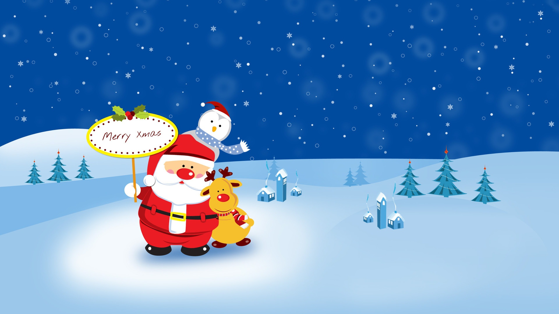 Hdwallpaperhd Wallpaper Happy Christmas Cartoon Pic Phone 1920x1080
