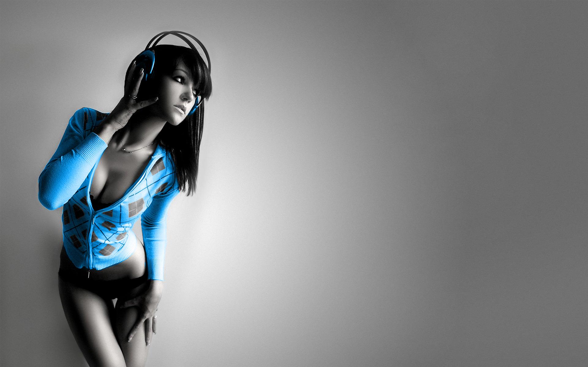 Hd wallpaper music - Music Girl Wallpaper 1920x1200 Music Girl Electric Blue Looking