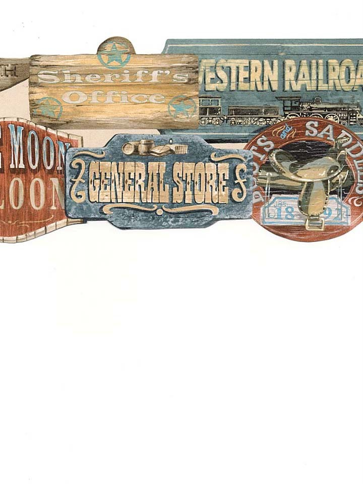 Details about Wallpaper Border Old Wild West Western Signs Die Cut 720x960