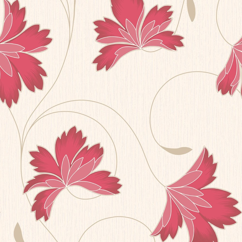 Home Wallpaper Crown Crown Flourish Wallpaper Cherry Red 1000x1000