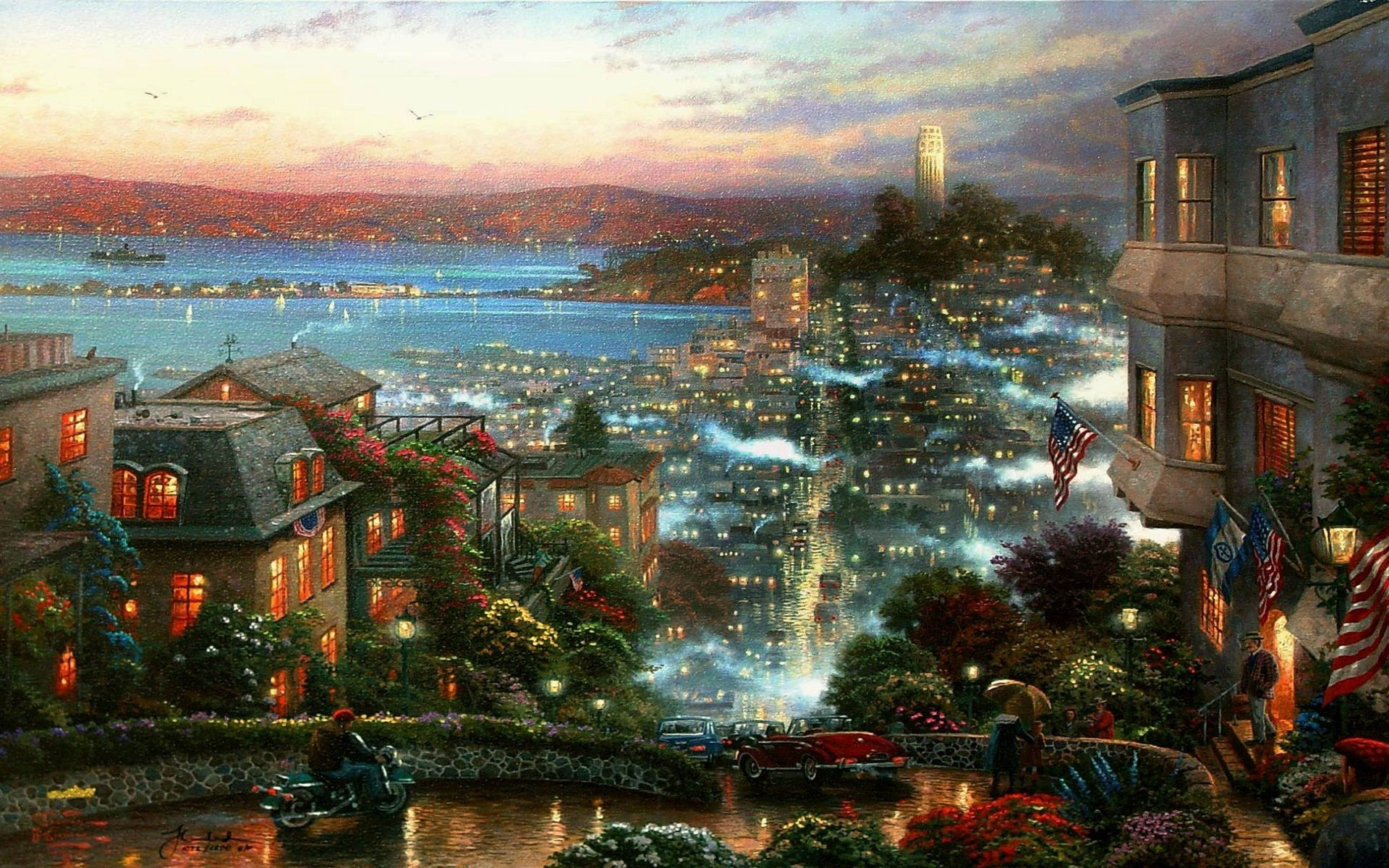 thomas kinkade wallpapers city fog road wallpapers HD Desktop 1920x1200