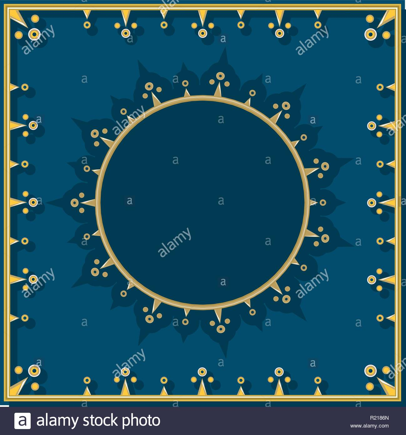Golden pattern on blue royal background with round template for 1298x1390