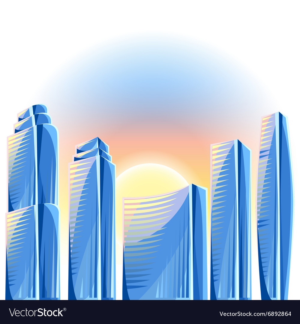 City skyscrapers background in blue colors Vector Image 1000x1080