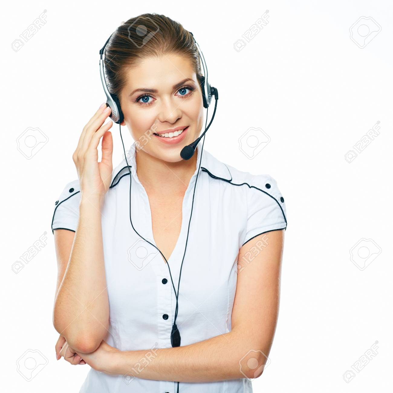 Woman Call Center Operator White Background Isolated Stock Photo 1300x1300