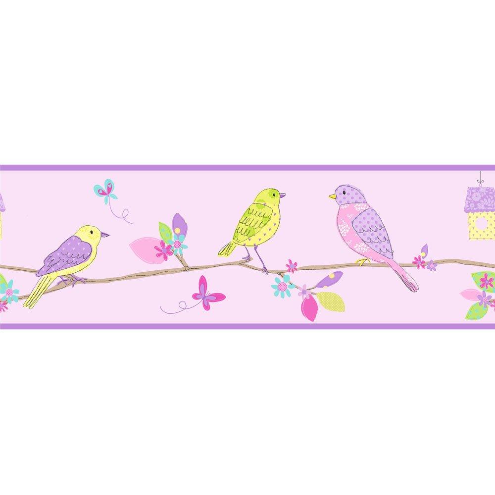 Fine Decor Pretty Birds Hoopla Wallpaper Border Lilac 1000x1000