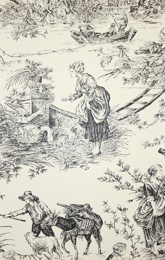 Chateau de Loir Toile Wallpaper Pastoral scenic Toile de Jouy 534x840