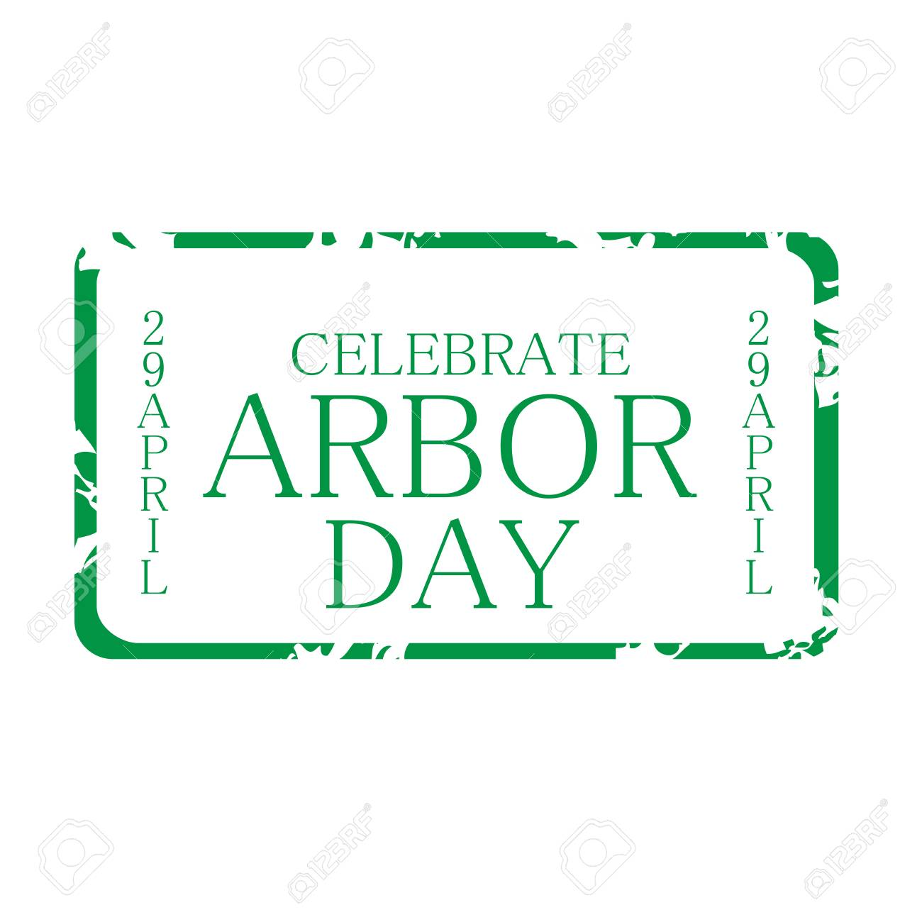 Arbor Day Stamp Style Icon Green On White Background Vector 1300x1300