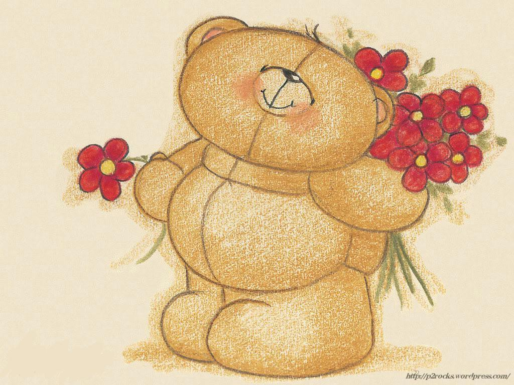 cute bear with red flowers wallpaper 1024x768 Idle Ramblings 1024x768