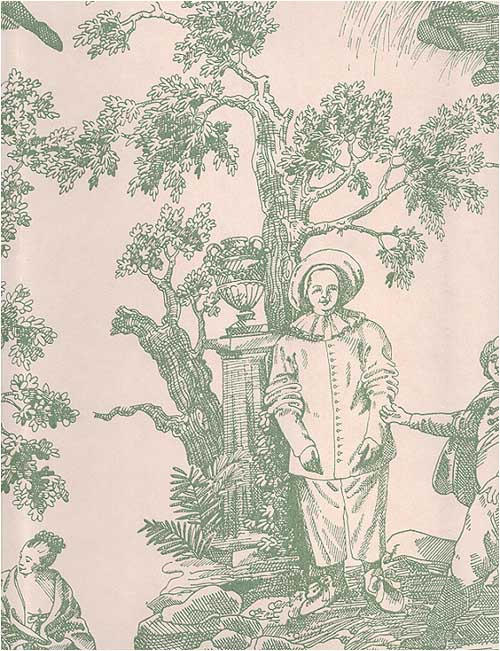 Gardens Toile de Jouy Wallpaper Willow green on cream toile de jouy 500x651