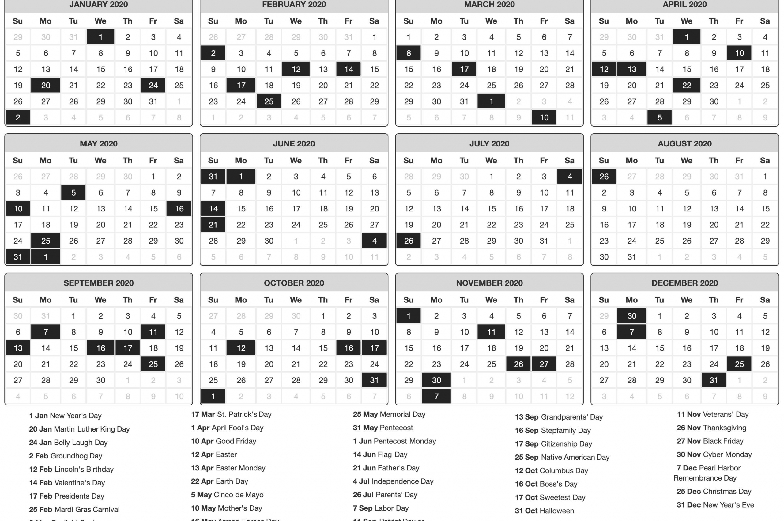 download 2020 Printable calendar posters images wallpapers 2560x1700