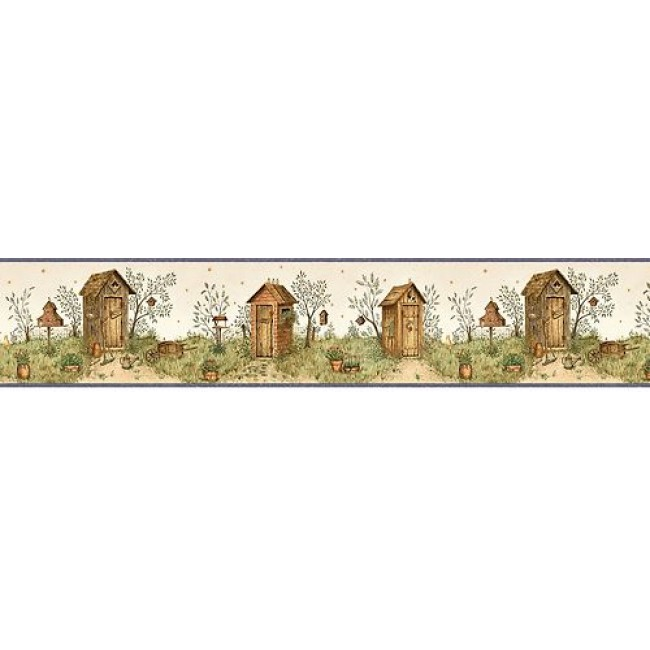 OUTHOUSES w NAVY BLUE EDGE WALLPAPER BORDER   All 4 Walls Wallpaper 650x650