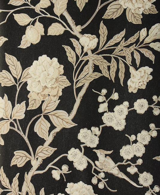 Wallpaper Climbing floral in beige and cream with birds on a black 534x649