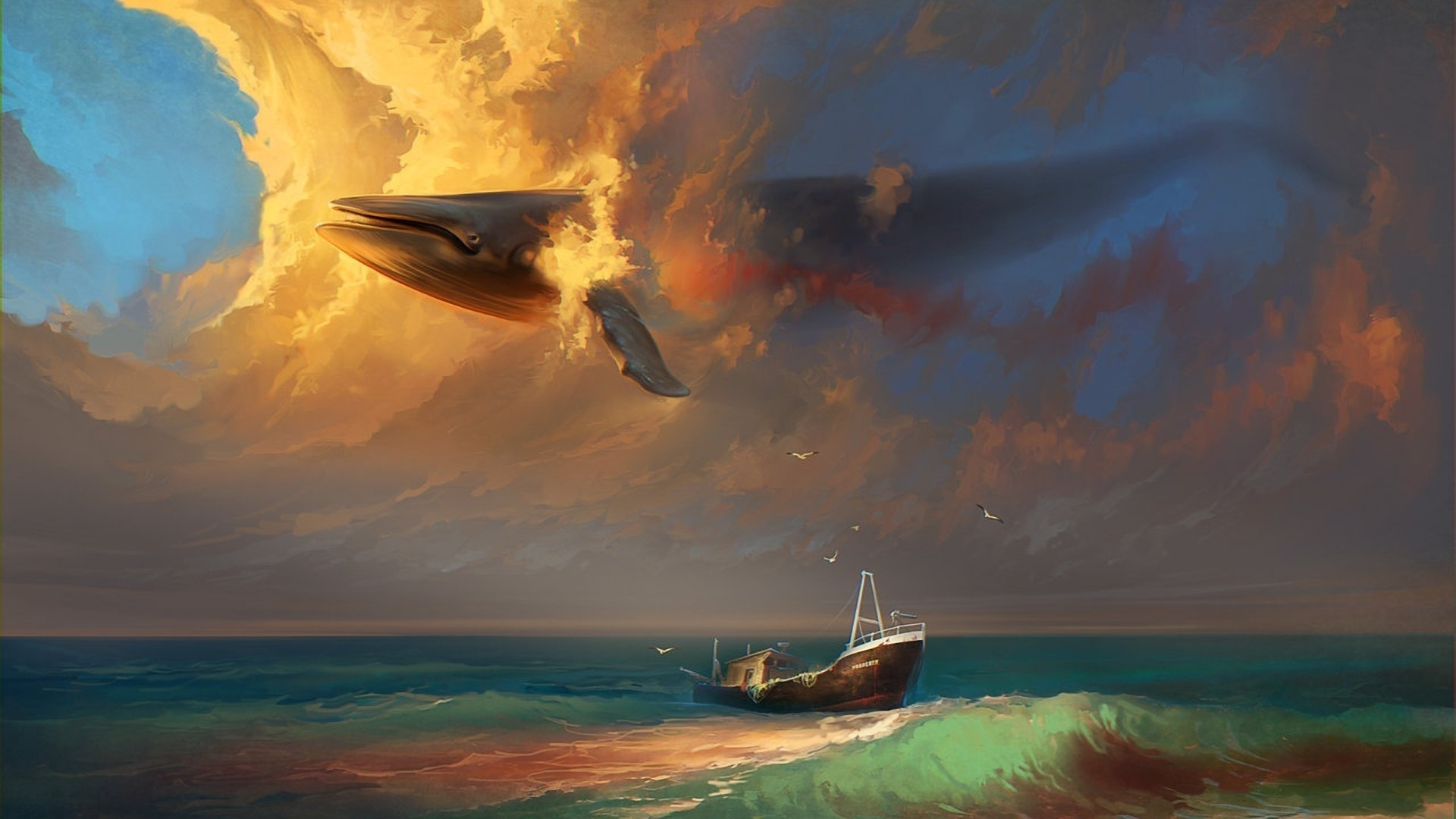 Artistic   Psychedelic Surrealism Trippy Surreal Whale Ship Wallpaper 1920x1080