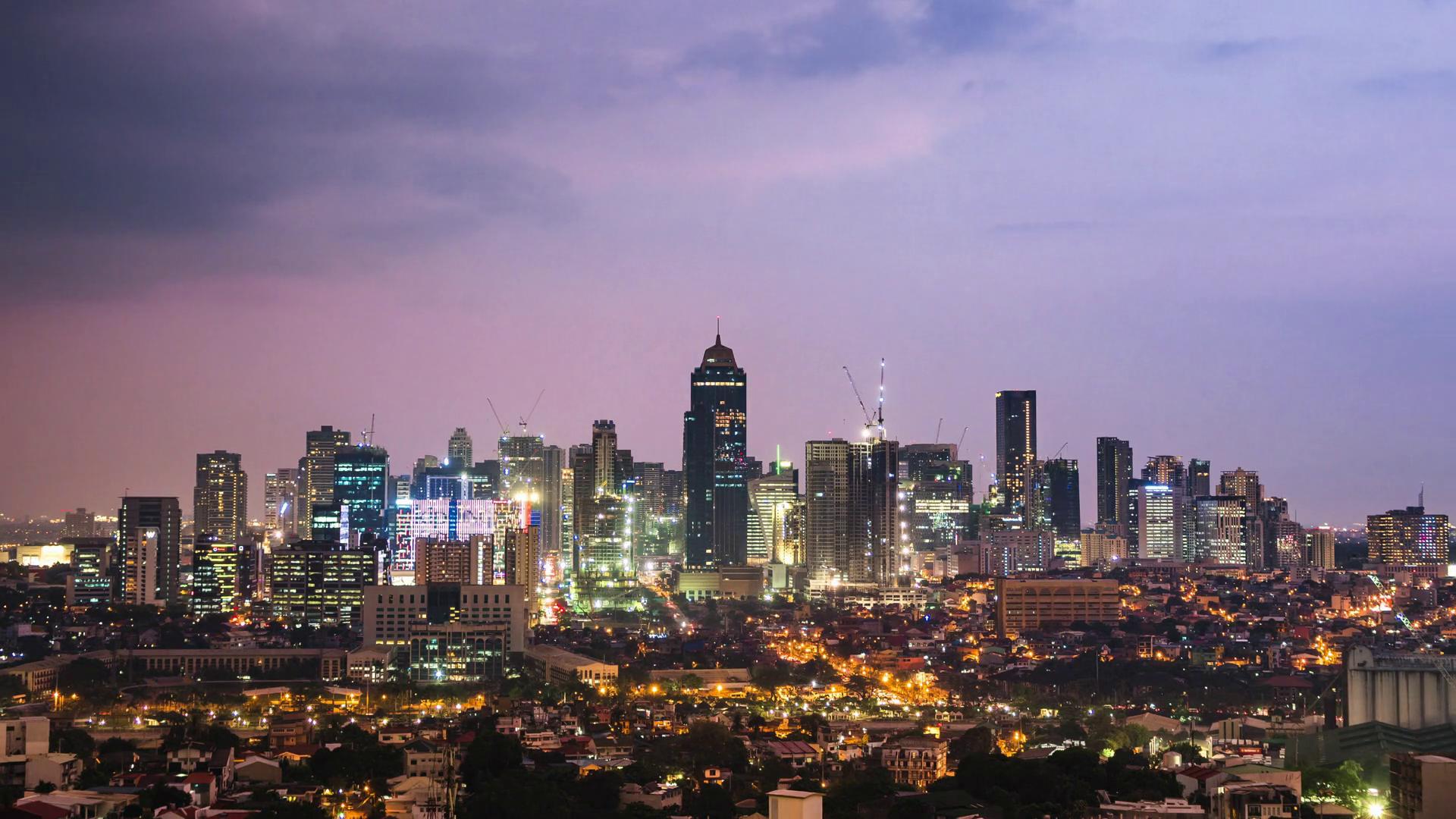 Day to Night Time Lapse View of Metro Manila Skyline 1920x1080