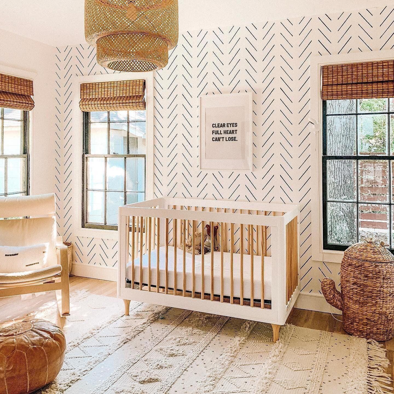 Black and White Chevron Nursery Wallpaper Boho baby room Baby 1440x1440