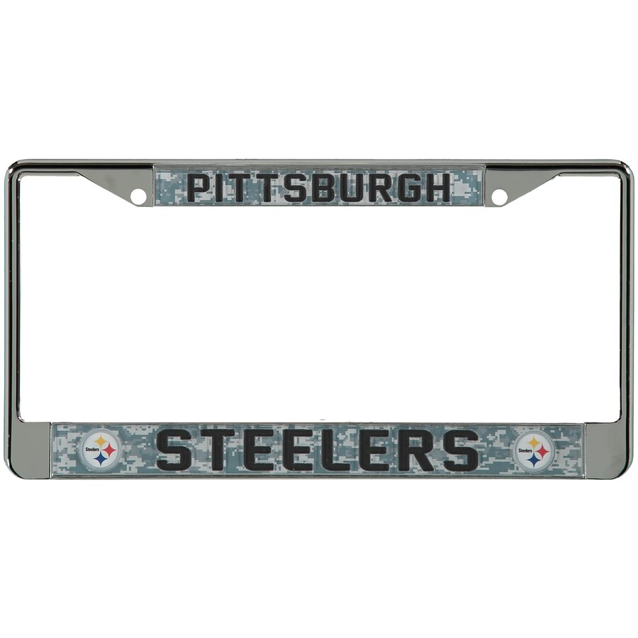 Pittsburgh Steelers Digi Camo License Plate Frame with Black Letters 900x900