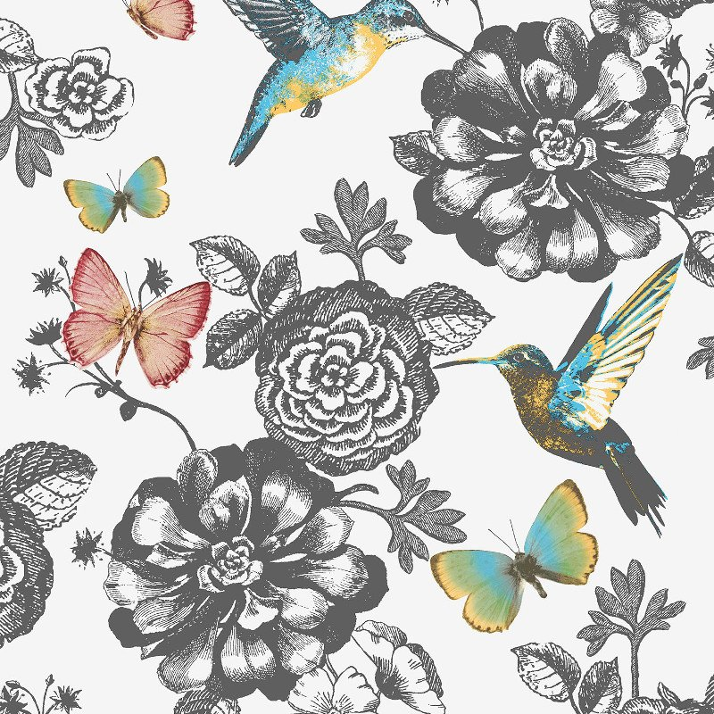Coloroll Utopia Bird and Butterfly Wallpaper in Multi-Coloured - M1041