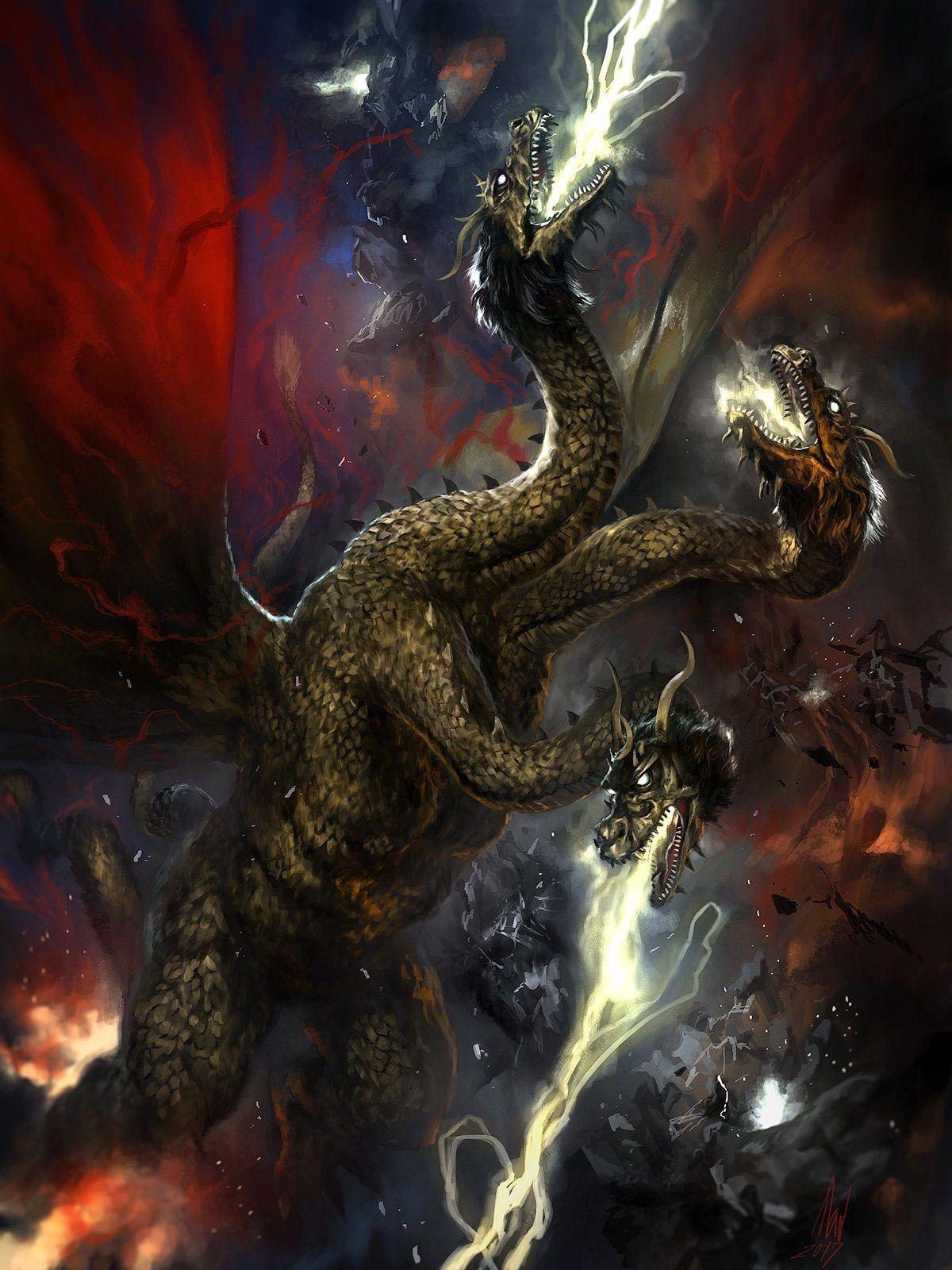 King Ghidorah art Godzilla Godzilla tattoo Japanese monster 1200x1600