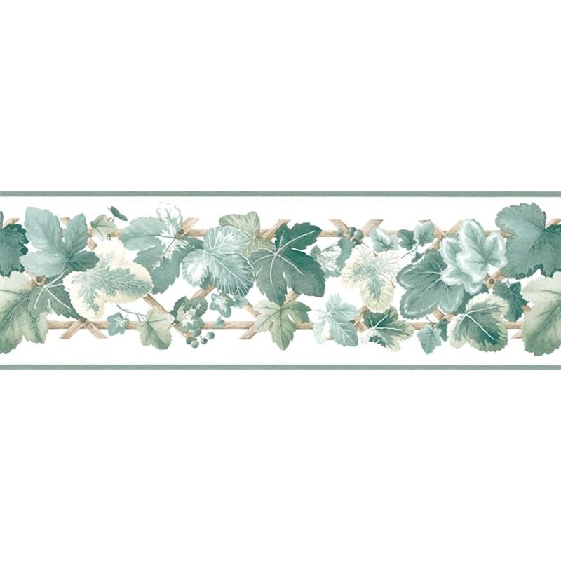 Wallpaper Border Leaf Scroll Ivy on Lattice Border 800x800