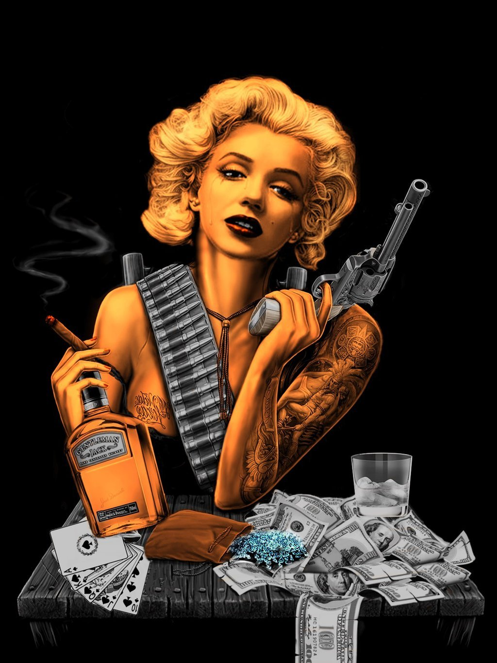 Gangsta Drawings With Guns Marilyn Monroe Gangste...