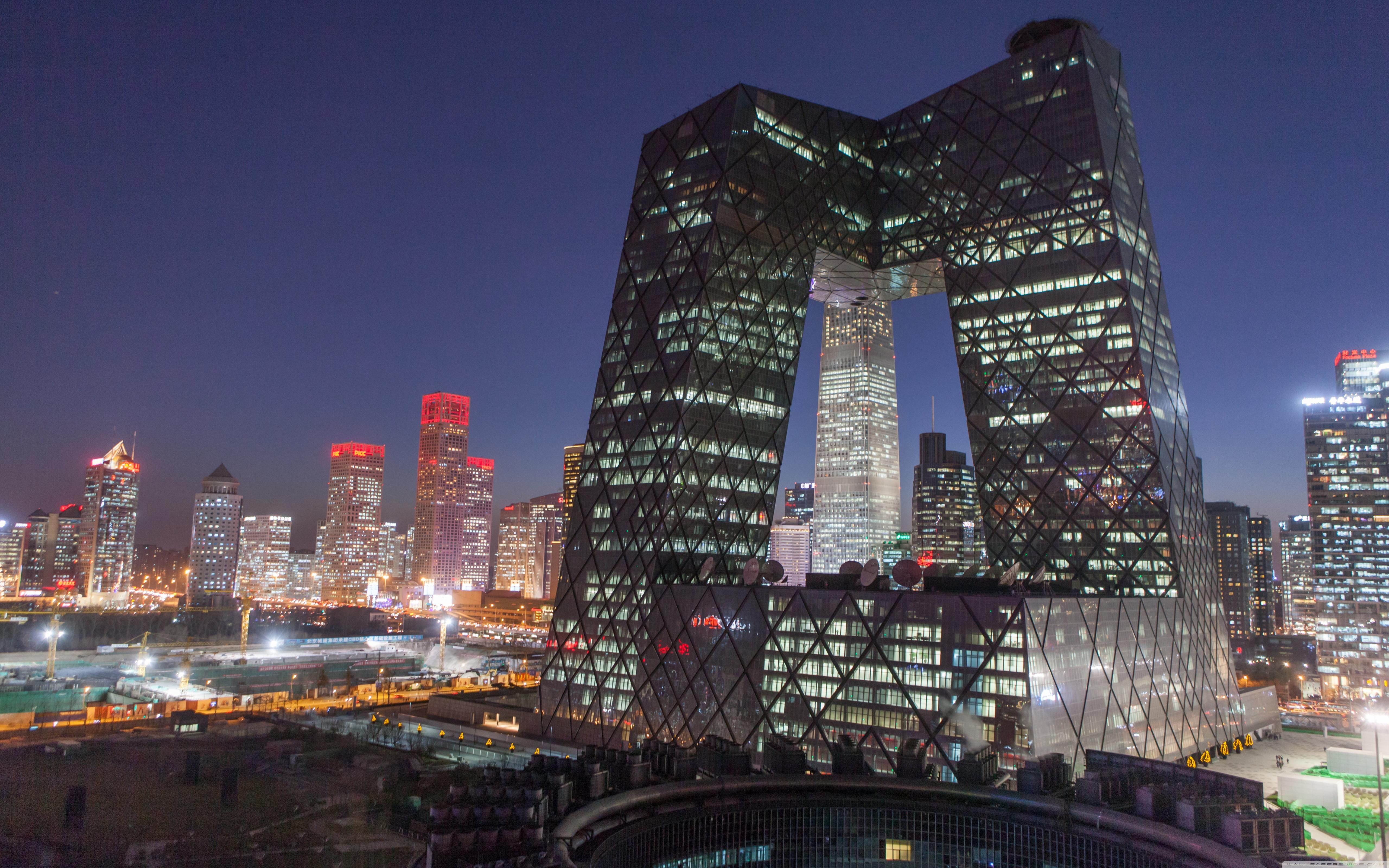 CCTV Building Beijing China 4K HD Desktop Wallpaper for 4K 5120x3200