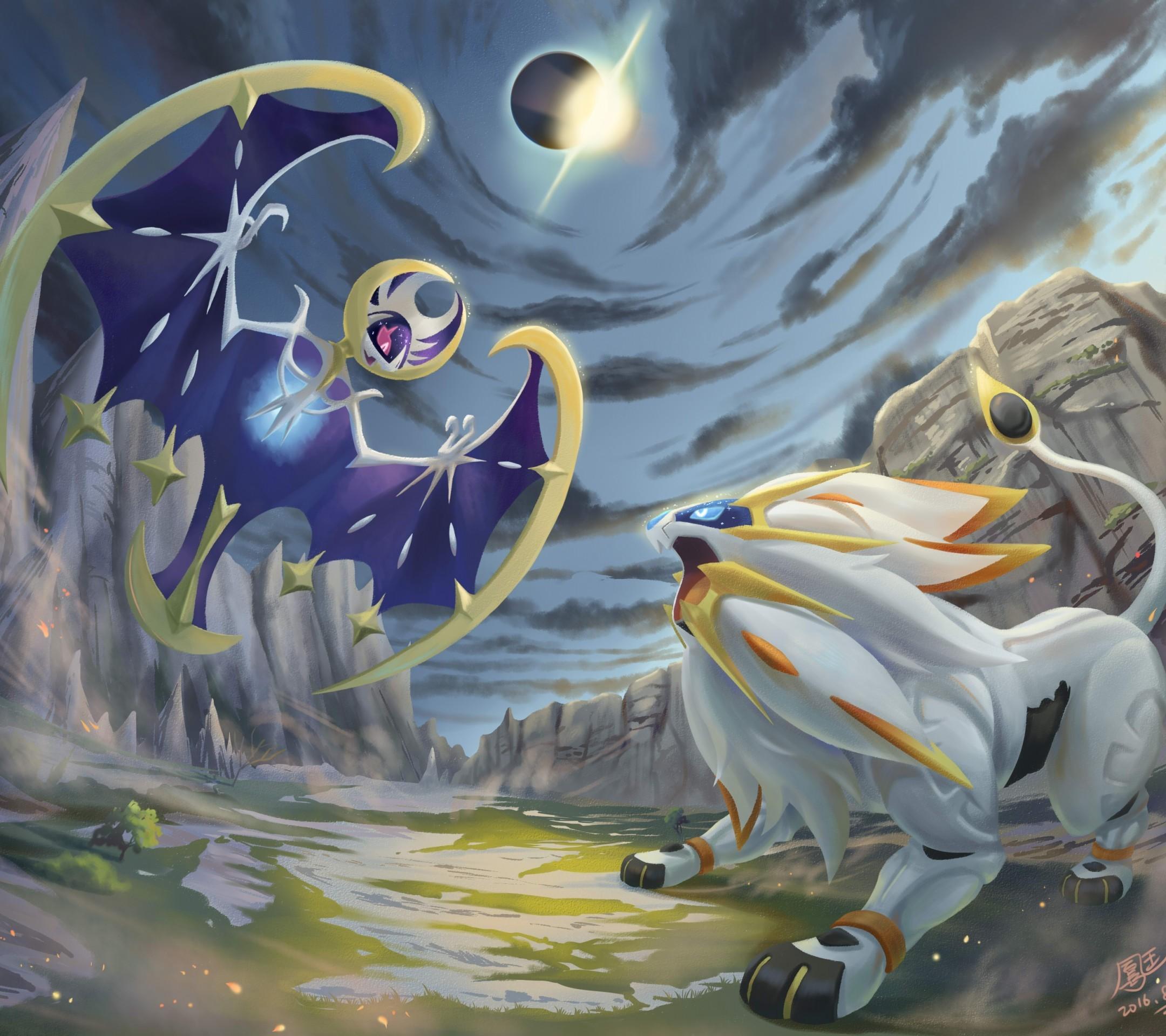 Download 2160x1920 Lunala Pokemon Solgaleo Artwork Clouds 2160x1920