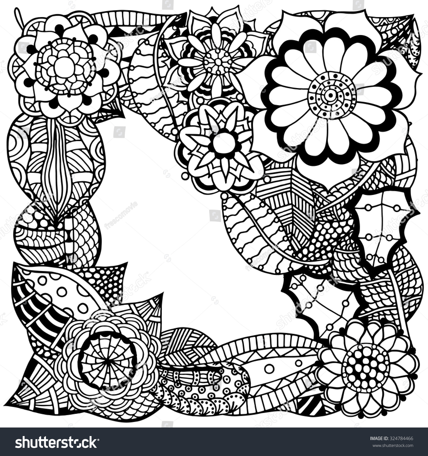 Ornate Floral Pattern Flowers Doodle Sharpie Stock Vector Royalty 1500x1600
