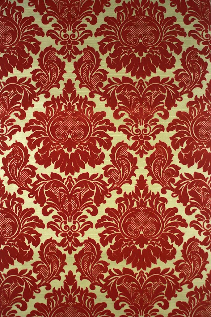 Red Flocked on Gold Vintage Wallpaper 683x1024