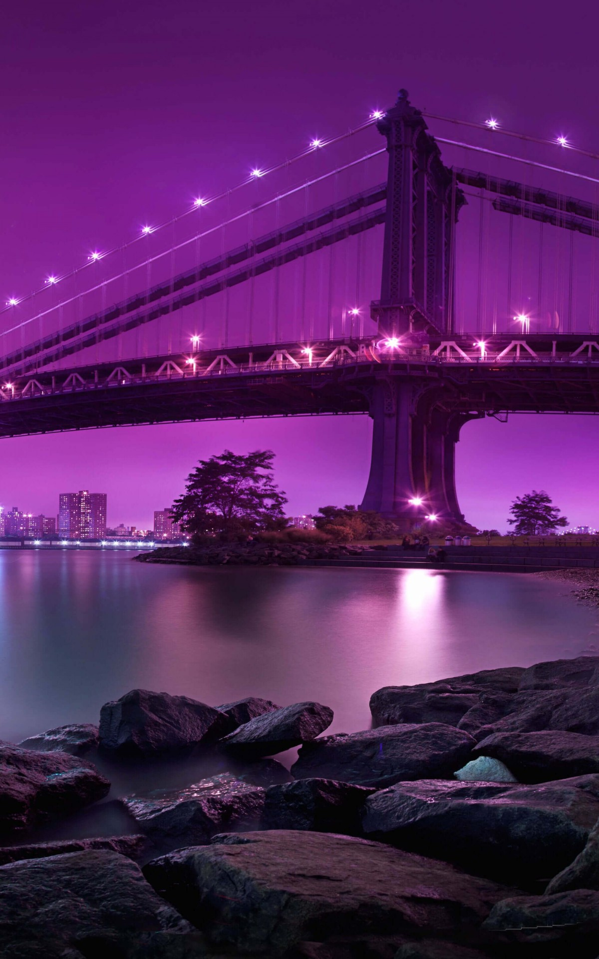 Brooklyn Bridge by night HD wallpaper for Kindle Fire HDX 1200x1920