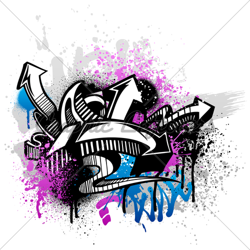 Black Graffiti Sketch With Blue And Pink Grunge 500x500