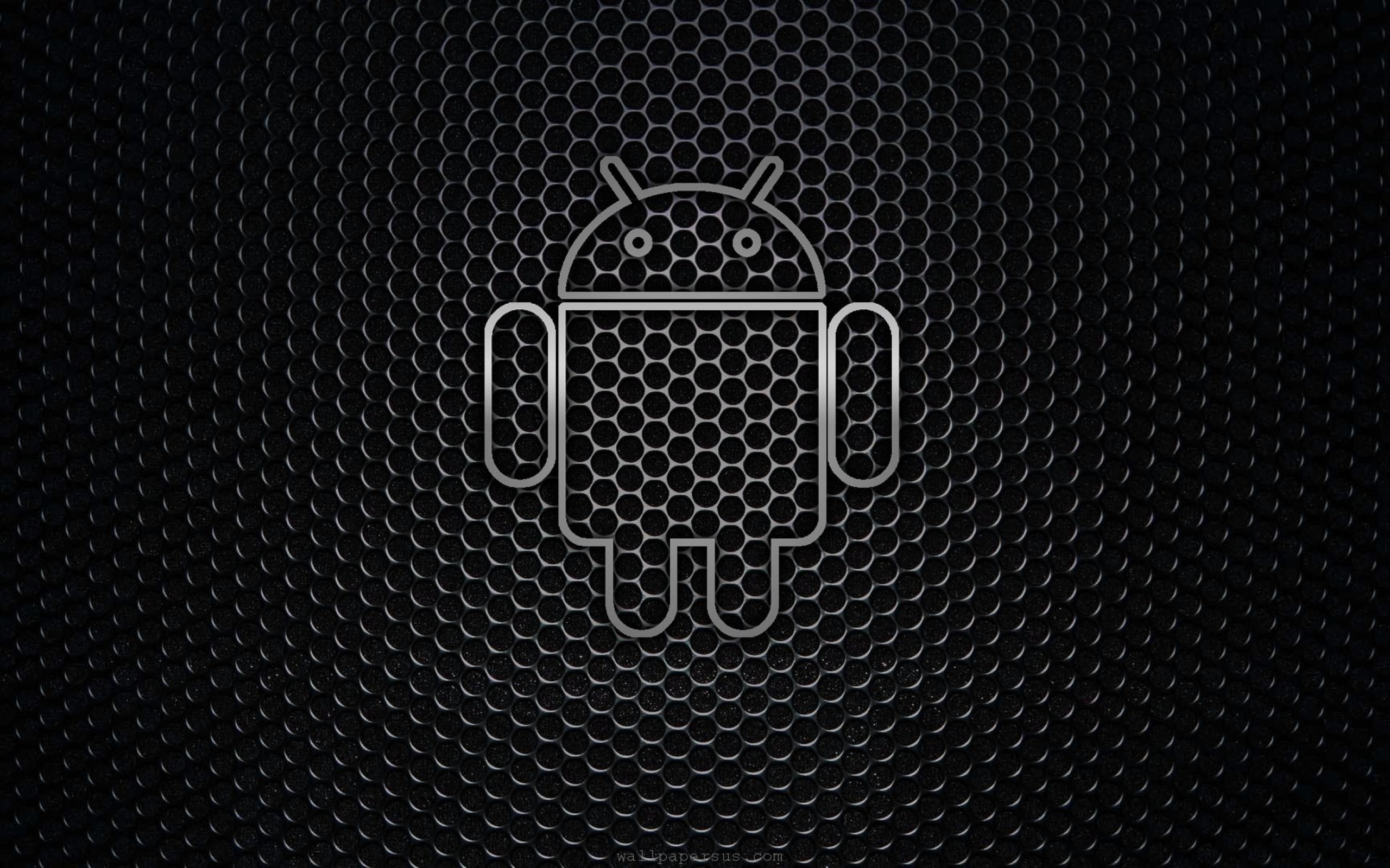 desktop android black logo background wallpaper 2560x1600