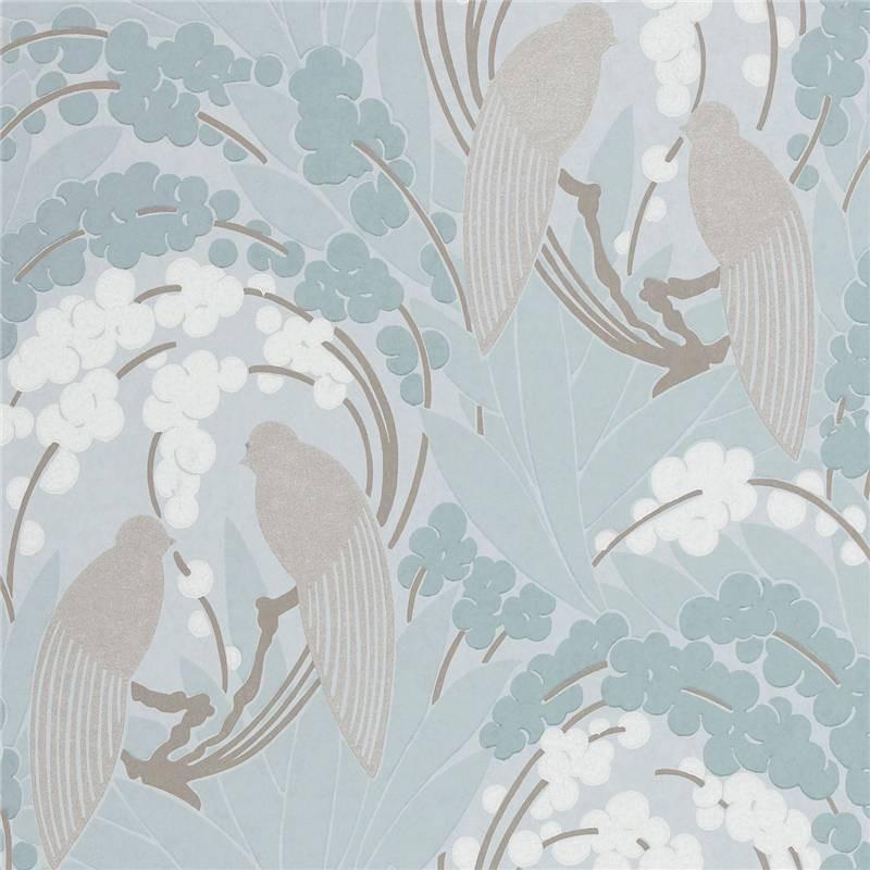 Egg Blue Silver   60122   Love Birds   Harlequin Boutique Wallpaper 800x800