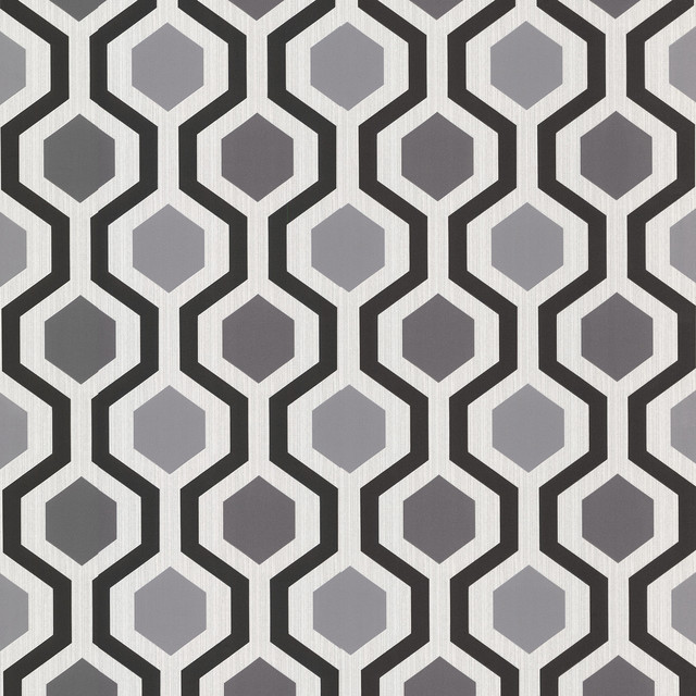 Modern Geometric Black And White Trellis Wallpaper   Contemporary 640x640