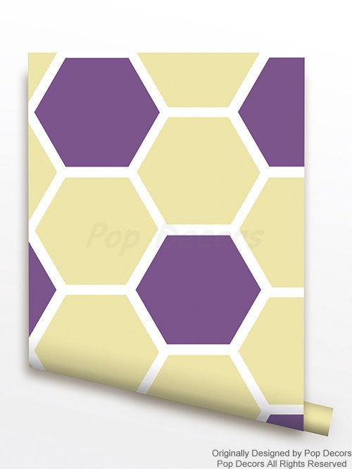 Fabric Wallpapers   Honeycomb Allover   Children Playroom Wall Decors 500x665