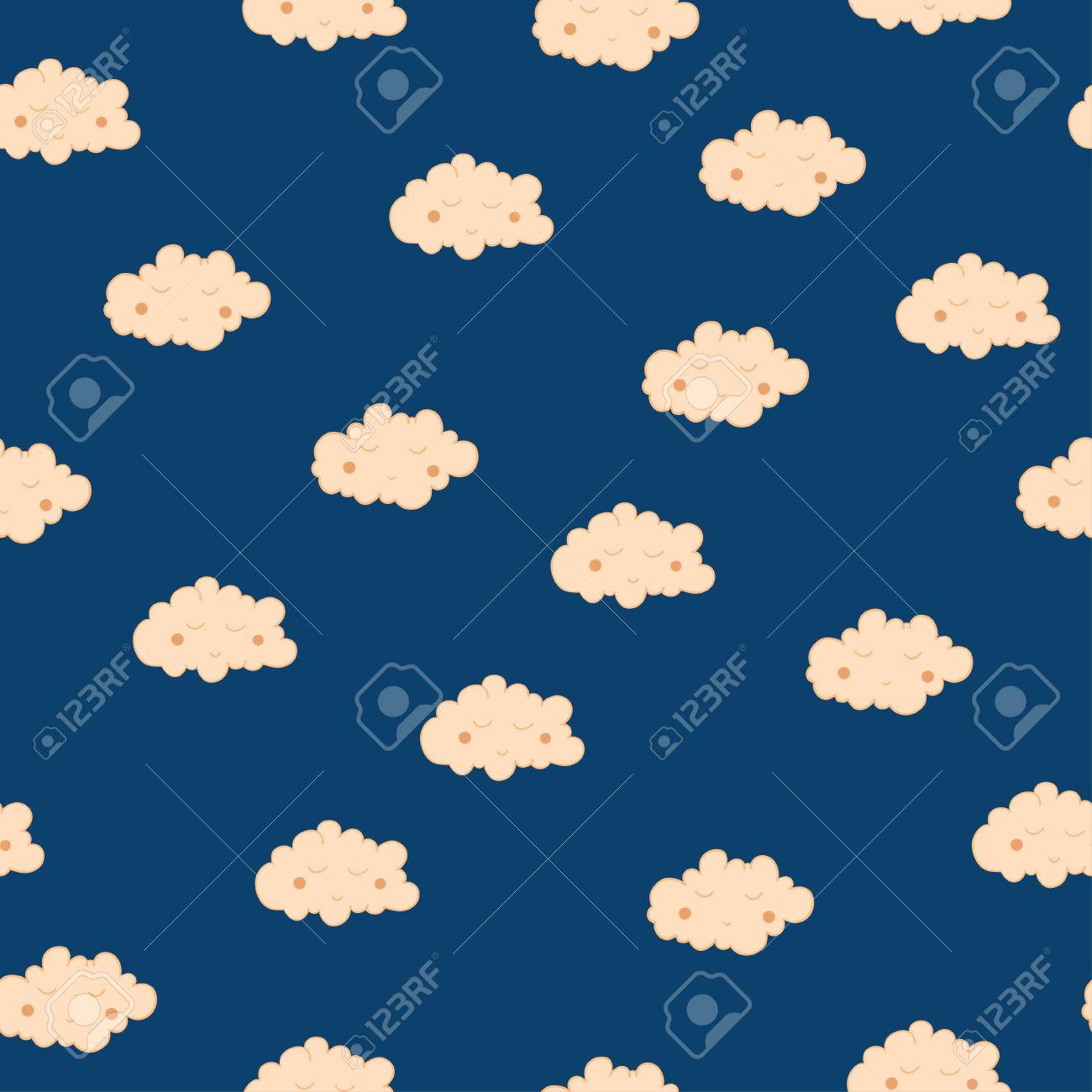 Beautiful Seamless Pattern With Cute Sleeping Clouds Good Night 1300x1300