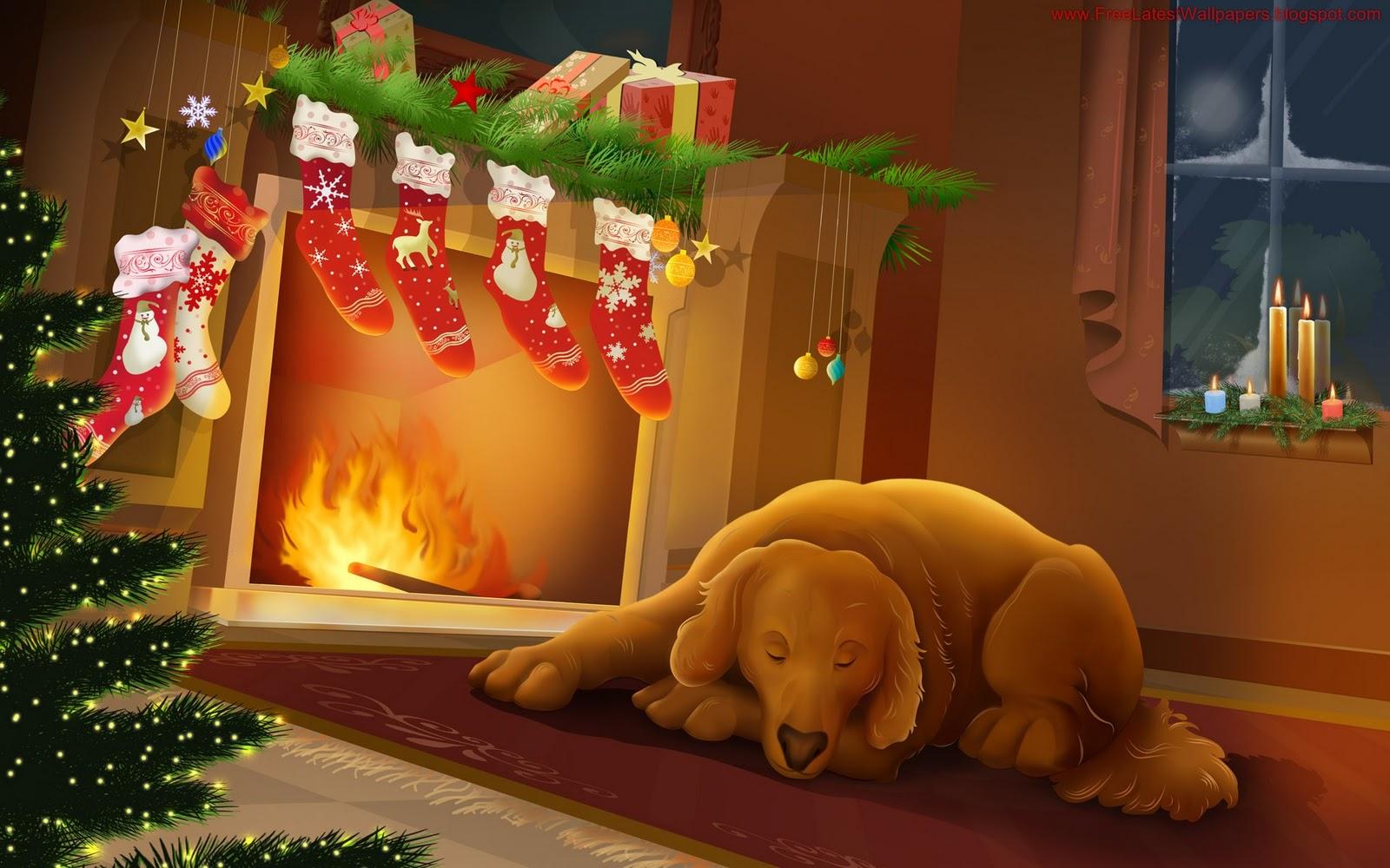 ilona wallpapers Cozy Christmas Fireplace Wallpaper 1600x1000