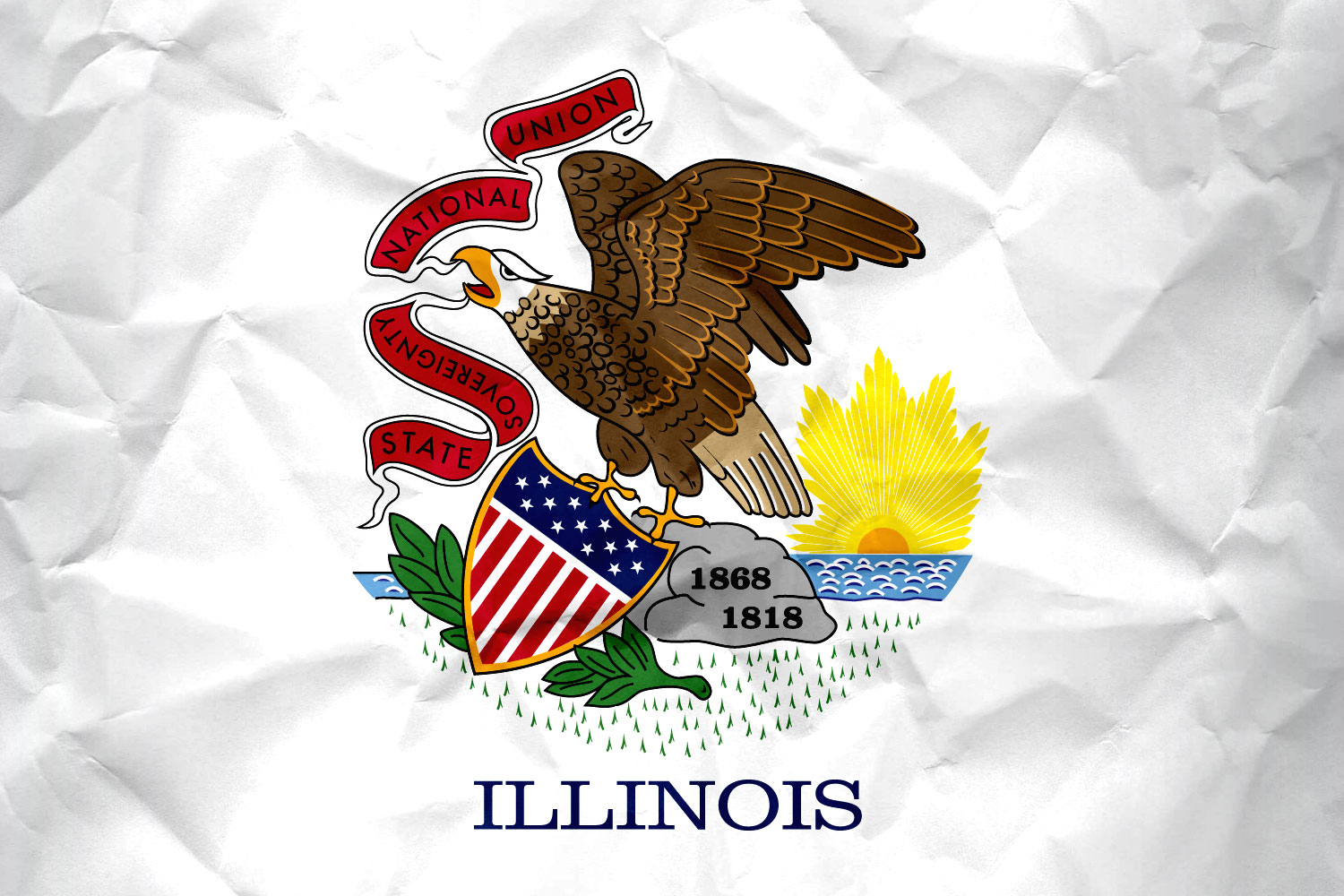 Flag of Illinois with Paper Texture   Download it for 1500x1000