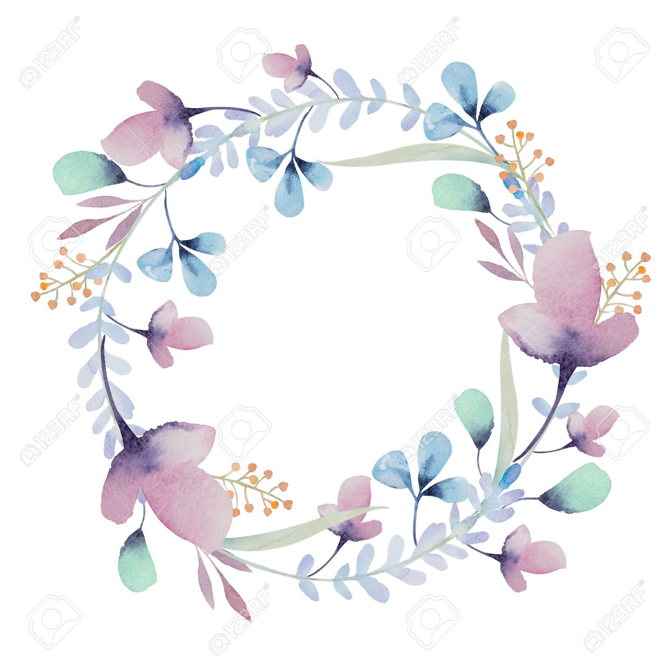 Watercolor Background With Beautiful Floral Wreath Frame Isolated 1300x1276