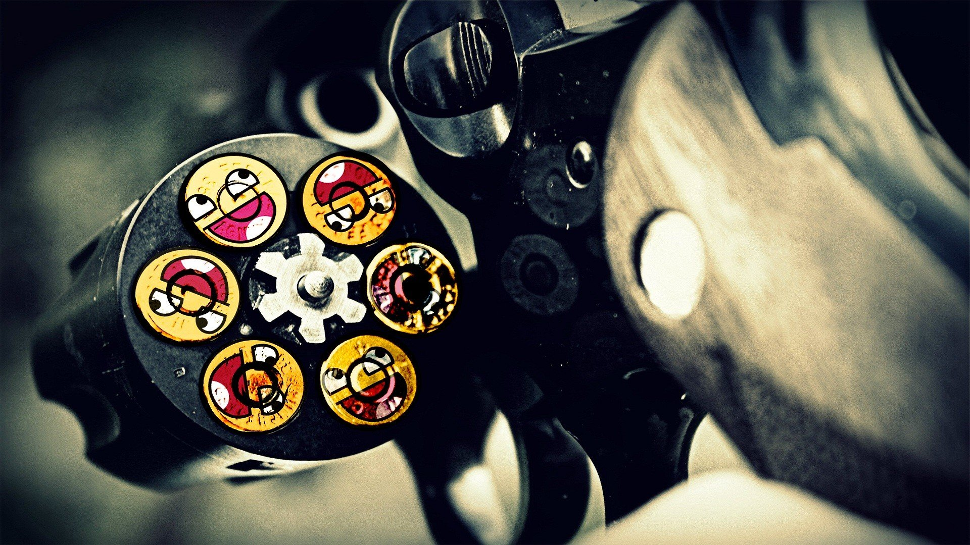 guns ammunition smiley face Awesome Face wallpaper background 1920x1080