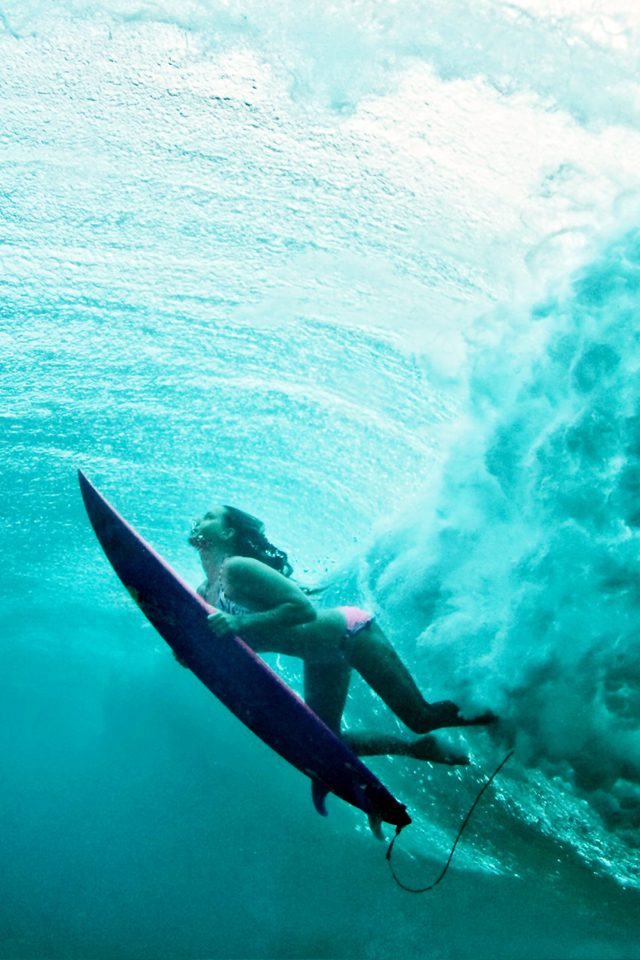 terralonginqua Underwater surf girl wallpaper 640x960