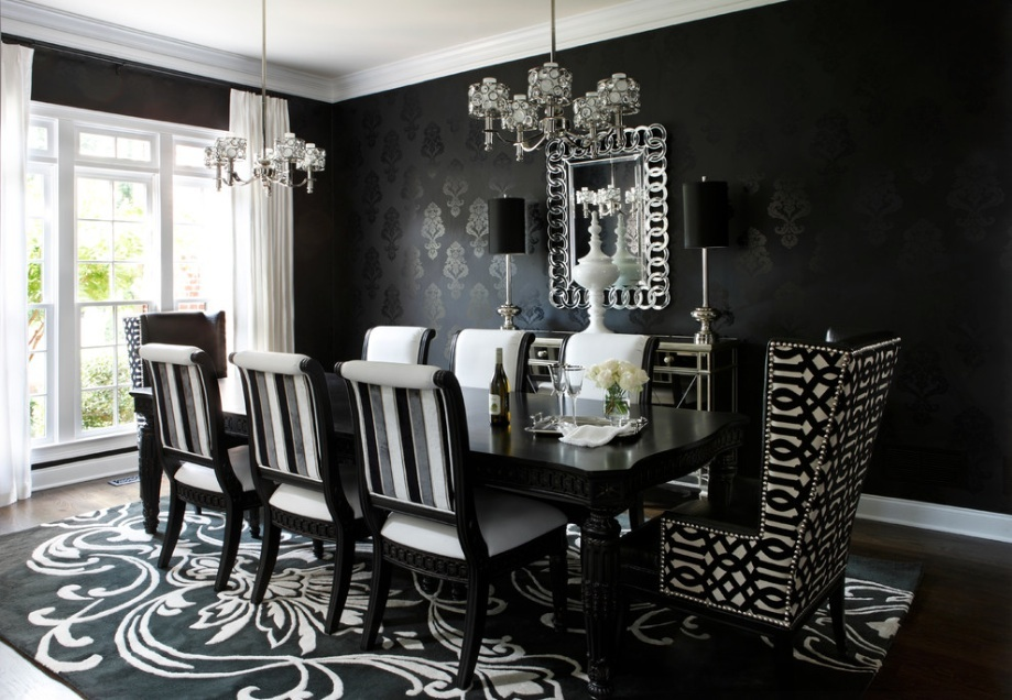 black damask wallpaper would be a great way to add a Victorian Gothic 919x636