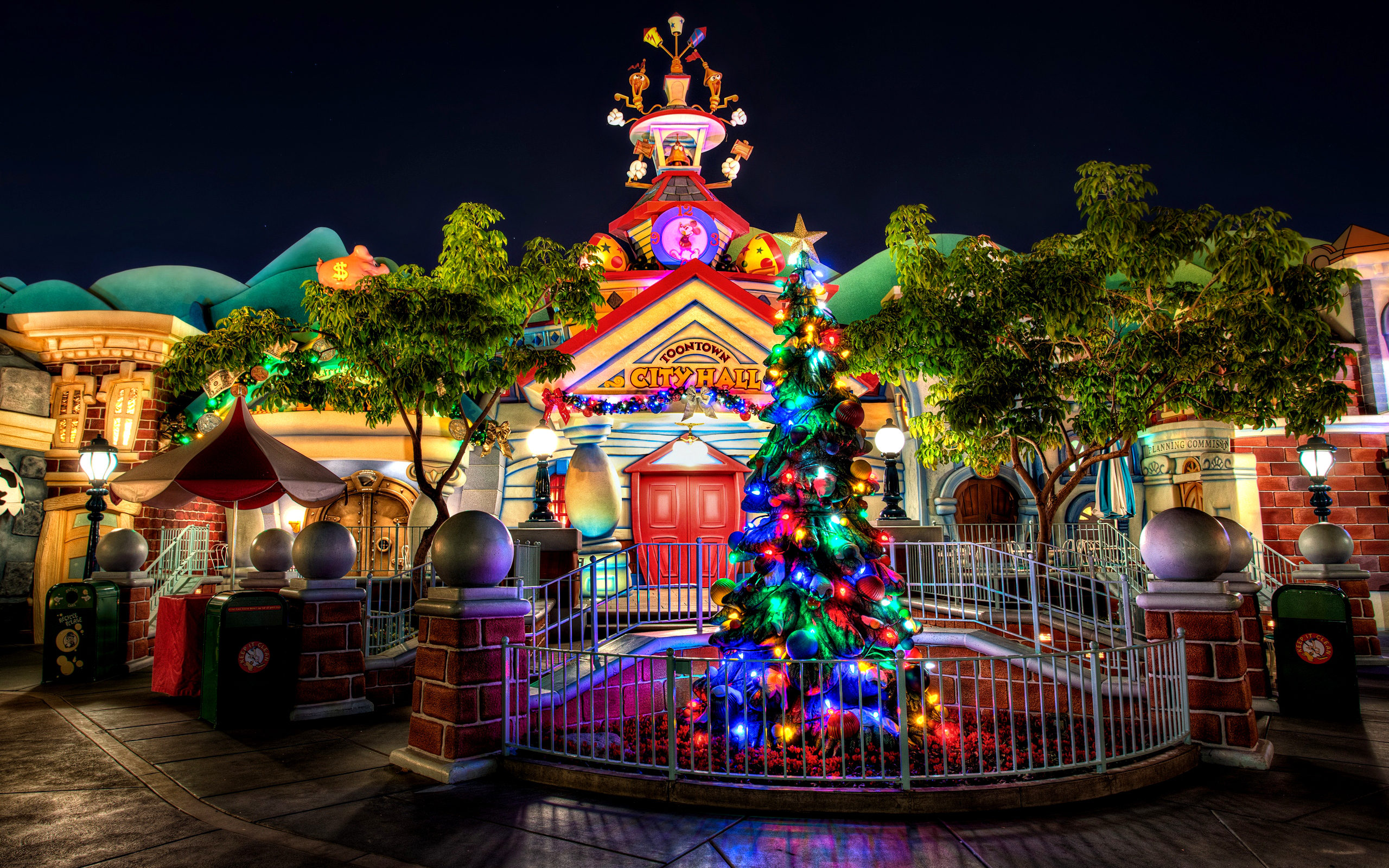 Wallpaper new year christmas disney disneyland night lights city 2560x1600