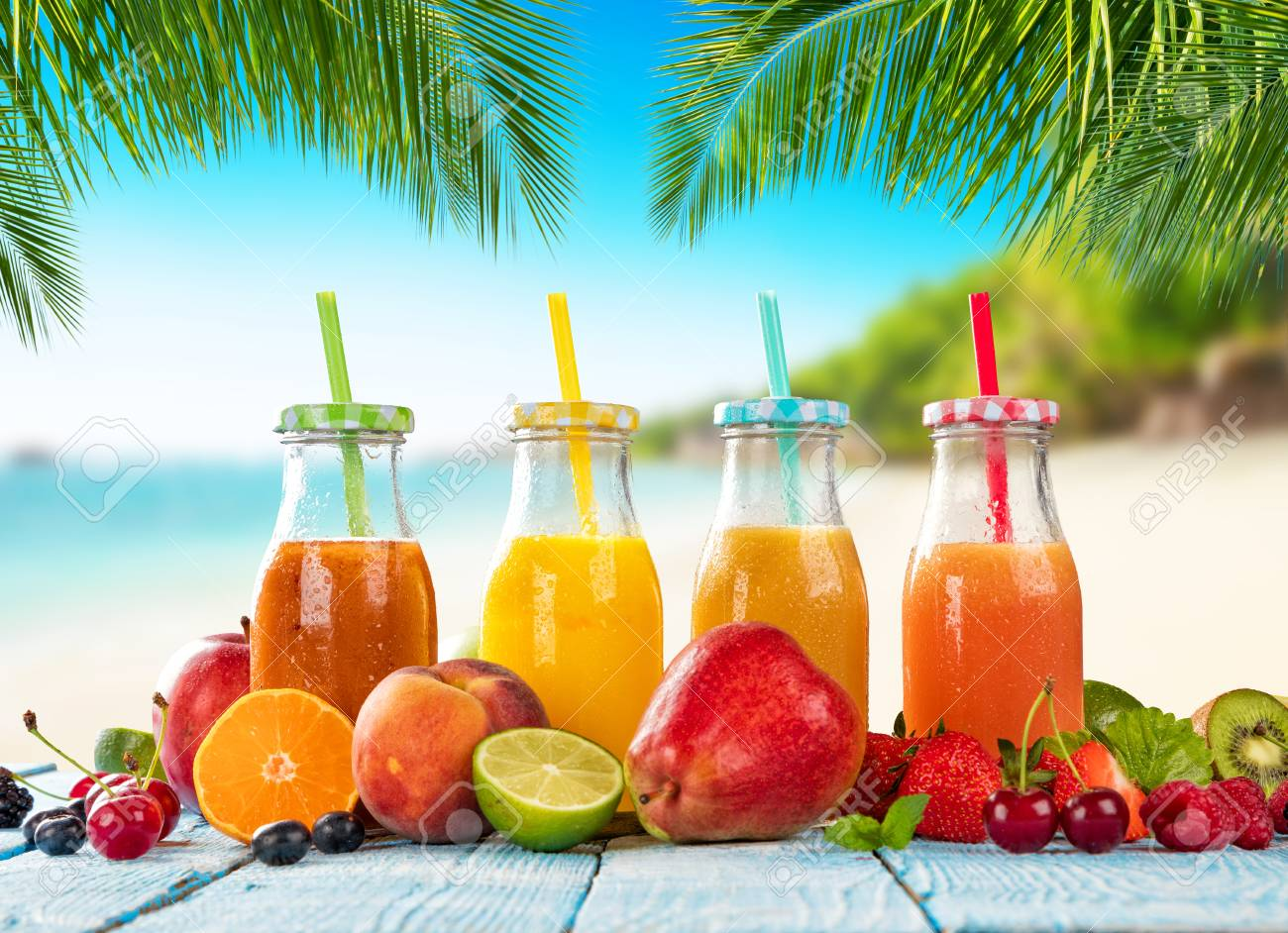 Fresh Smoothie Drinks Placed On Wooden Planks Blur Tropical 1300x942