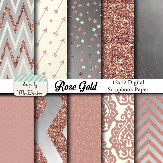 Rose Gold Digital Paper Backgrounds Pack   12x12  Rose Cream Silver 570x570