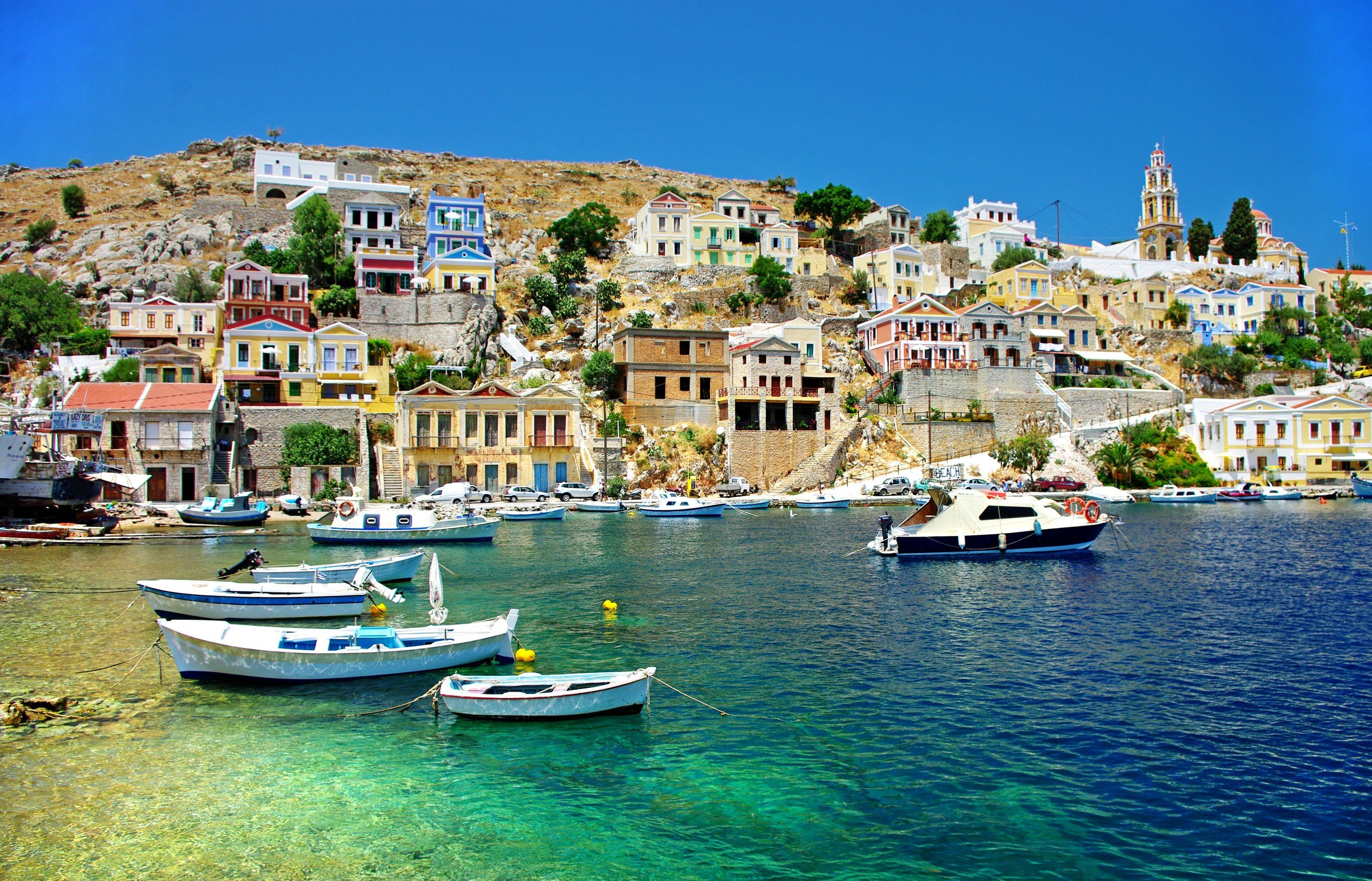 Greece Houses Sea Boats Corfu Cities wallpaper 2802x1800 2802x1800