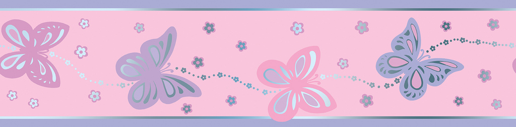BUTTERFLIE PINK GIRLS BUTTERFLY WALLPAPER BORDER SELF ADHESIVE eBay 1024x252
