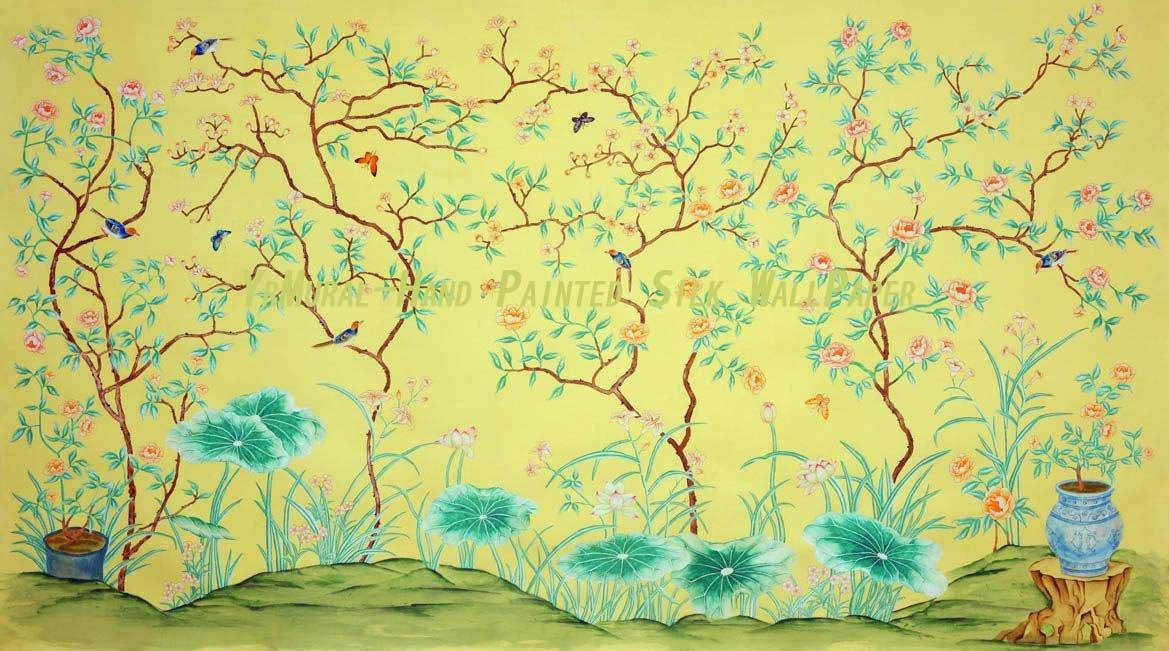 Hand Painted Wallpaper Silk Wallpaper Chinoiserie Wallpaper 1169x651