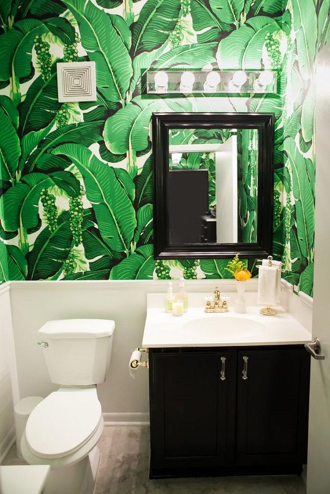banana leaf if a fully wallpapered bathroom seems too 645x967
