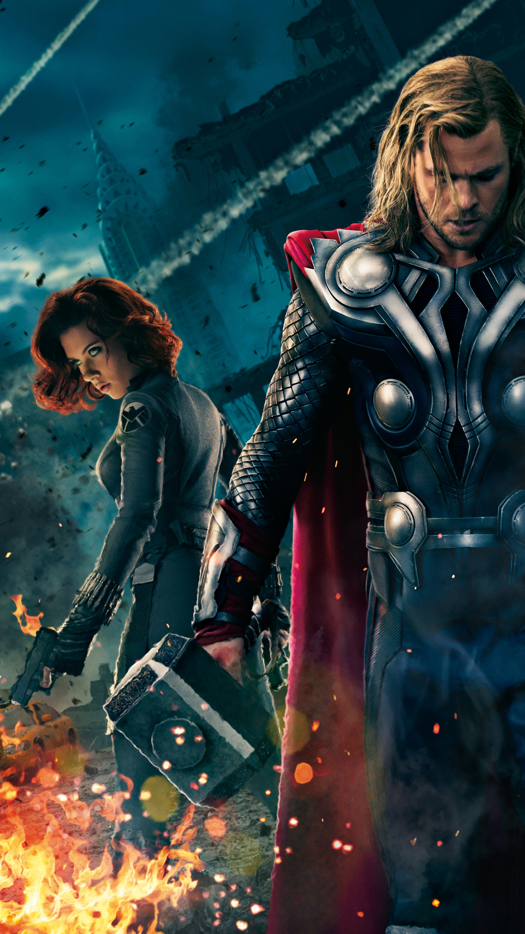 The Avengers Thor and Black Widow   Best htc one wallpapers 1080x1920