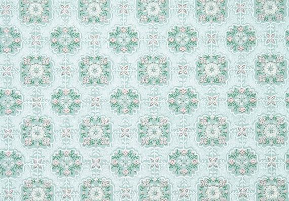 1940s Vintage Wallpaper   Aqua and Pink Geometric with Tiny Flowers 570x397